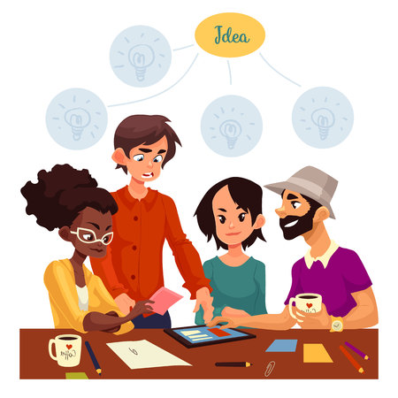 Young creative business people brainstorming ideas in office, sketch style vector illustration. Multiethnic group of young people having a brainstorm at the table. Teamwork, planning, creative process Illustration