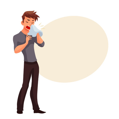 Sneezing young man blowing his nose, cartoon style vector illustration isolated on white background. Guy having cold, seasonal flu running nose, feeling unwell