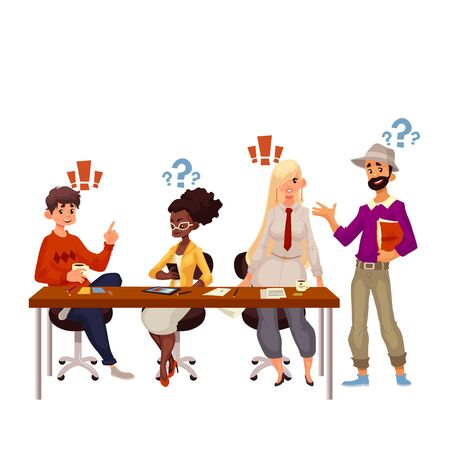 working together: Young creative business people discussing ideas in office, sketch style vector illustration. Multiethnic group of young people working together at the table, office teamwork, creative process