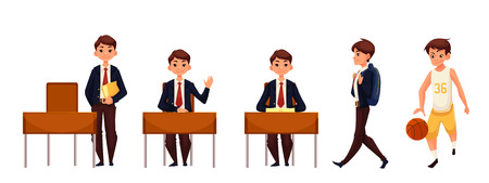 schoolboy: Cartoon school boy standing and sitting at the desk, walking and playing basketball. illustration isolated on white background. Schoolboy in different postures