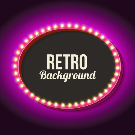 Vintage Frame With Volumetric Lights 3d Retro Oval A Neon Light Realistic Shape