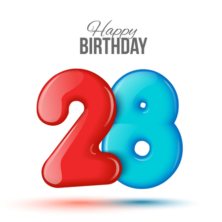 figure of eight: Number twenty eight, 28 greeting card, 3d number eighteen. The volume figure 28 years. Positive, colorful, figure. illustration. Inflatable red, blue. Sample card. celebrating birthday Stock Photo