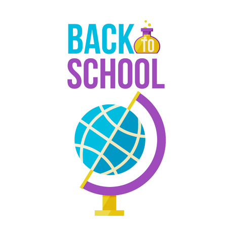 Back to school poster with globe, flat style vector illustration isolated on white background. Start of school season, educational process symbol, geography, natural sciences