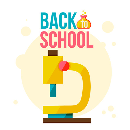 Back to school poster with microscope, flat style vector illustration isolated on white background. Start of school season concept, poster card design with microscope as symbol of educational process Illustration