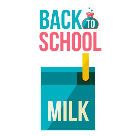 retort: Back to school poster with milk box, flat style vector illustration isolated on white background. Start of school season concept, poster card design with milk box as symbol of educational process Illustration