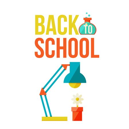 retort: Back to school poster with table lamp and flower pot, flat style vector illustration isolated on white background. Start of school season concept, lamp and flower as a symbol of educational process Illustration