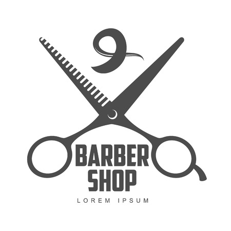 combs: vintage barber shop logo, label, badge and design element, vector illustration isolated on white background. Combs, moustache and scissors logo for barbershops, beauty salons, hairdressers