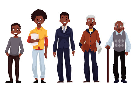 adolescence: Set of black men of different ages from adolescence youth to maturity and old age, illustration isolated on white background. Various generations at African American man