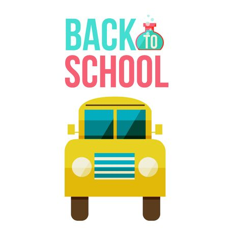 retort: Back to school yellow school bus icon, flat style illustration isolated on white background. Flat school bus, simple symbol of educational process Stock Photo