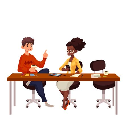 discussing: Young creative business people discussing ideas in office, sketch style vector illustration. Multiethnic group of young people working together at the table, office teamwork, creative process