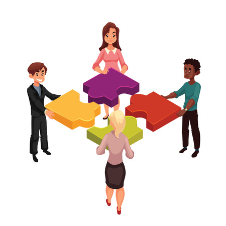 workday: Four people of diverse ethnicity connecting jigsaw puzzle elements, cartoon style vector illustration isolated on white background. Concept of partnership as putting jigsaw puzzles together