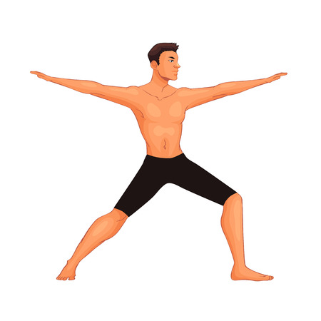 handsome young man in various poses of yoga, cartoon style vector illustration isolated on white background. Fit and strong young man doing yoga, collection of asanas, healthy lifestyle Illustration