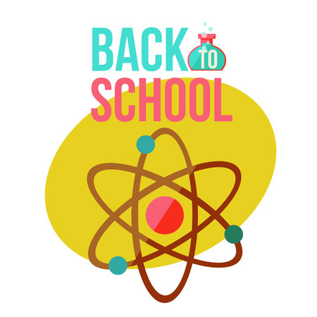 orbits: Back to school poster with atomic orbit symbol, flat style illustration isolated on white background. Science chemistry physics symbol of educational process with nuclear atom orbits