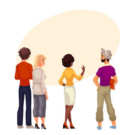 carefully: People stand with his back to audience and are looking forward to something, cartoon vector. group of people standing with his back to us and look carefully where could be your sign and advertising