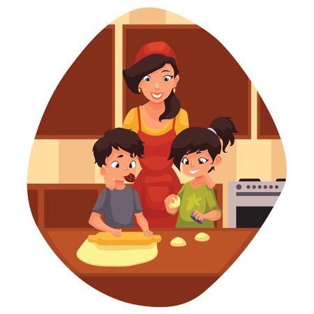 Mother and children preparing cookies in kitchen, cartoon illustration. Mom and kids cooking biscuits. Happy brother and sister baking cookies with mom