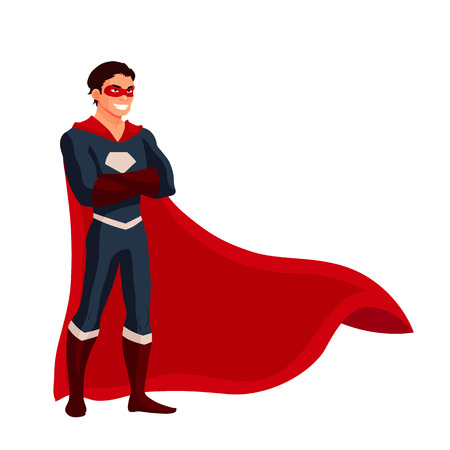 ordinary: Male superhero cartoon style vector illustration isolated on white background. man in casual suit and in superhero disguise, super power man. Ordinary person as superhero concept Illustration