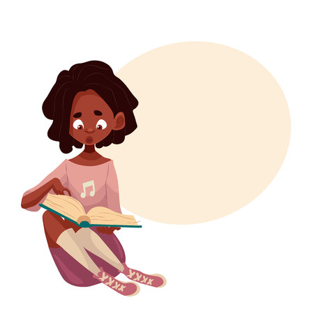 Little African American girl sitting and reading a book, cartoon style illustration isolated on white background. Small black skinned girl reading a book on the floor, studying concept Stock Photo