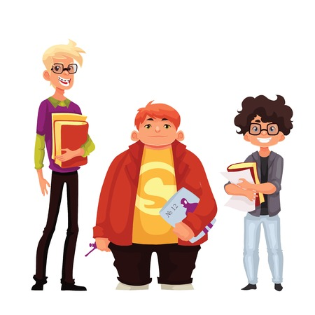 secondary: illustration of cartoon style nerd schoolboys isolated on white background. Group of nerd school boys teenagers students with book and glasses. Stock Photo