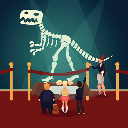 art museum: Kids in museum looking at dinosaur skeleton, cartoon style vector illustration. Museum guide telling children about a prehistoric dinosaur bones. School trip to museum Illustration