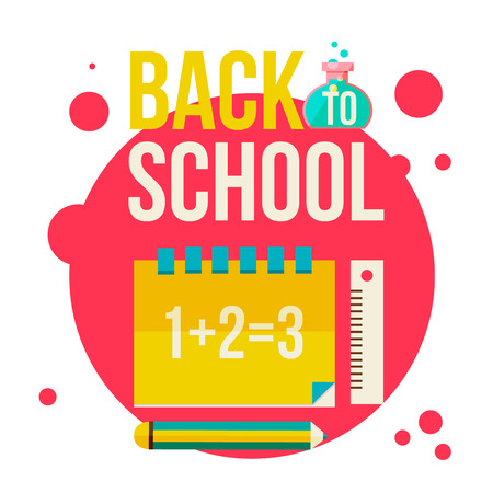 Back to school poster with notebook, pencil and ruler, flat style illustration isolated on white background. Start of school season concept, school supplies as symbol of educational process Stock Photo