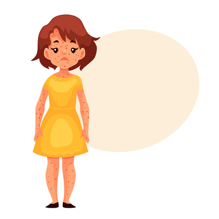 pimples: Little girl having chickenpox, cartoon style vector illustration isolated on white background. Cute brown haired girl in yellow dress with smallpox pimples, catching childhood desease