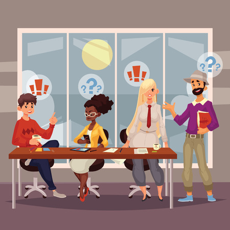 multi ethnic: Young creative business people discussing ideas in office, sketch style illustration. Multi ethnic group of young people working together at the table, office teamwork, creative process