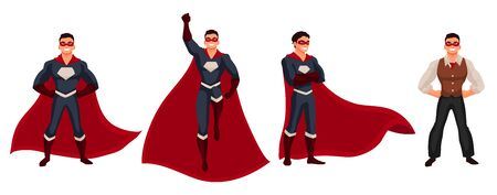 disguise: Male superhero cartoon style illustration isolated on white background. Set of same man in casual suit and in superhero disguise, super power man. Ordinary person as superhero concept Stock Photo