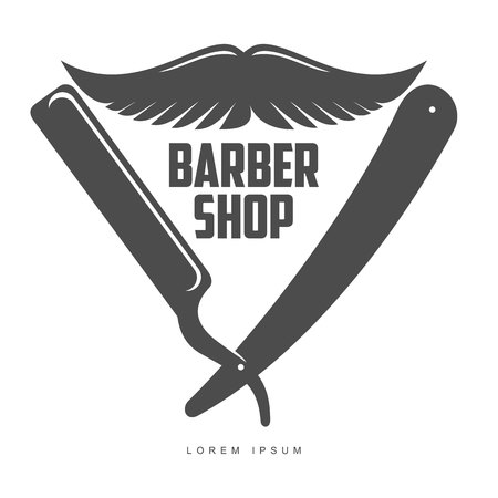 combs: vintage barber shop, label, badge and design element, illustration isolated on white background. Combs, moustache and scissors for barbershops, beauty salons, hairdressers