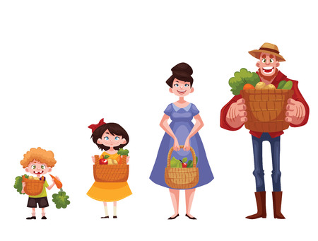 family gardening: Caucasian man, woman, boy, girl standing and holding baskets of freshly harvested fruits and vegetables, cartoon style illustration isolated on white background. Happy family gardening concept Stock Photo