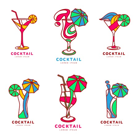 alcoholic beverage: Set of colorful abstract cocktail, illustration isolated on white background. Modern alcoholic beverage icons, cocktail glass symbol with straw and umbrella. Illustration