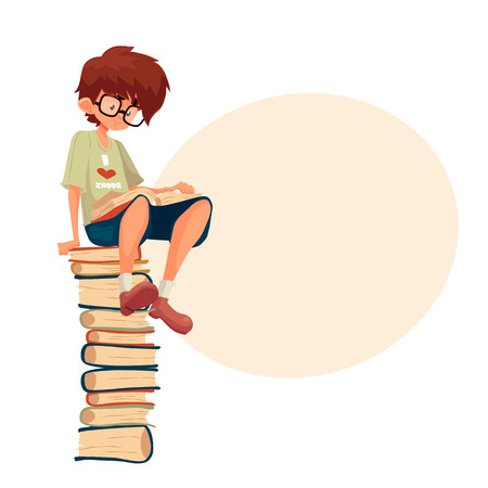 Little brown haired boy in glasses sitting on a pile of books and reading, cartoon style illustration isolated on white background. Smart kid, school nerd reading a book. Library, Stock Photo