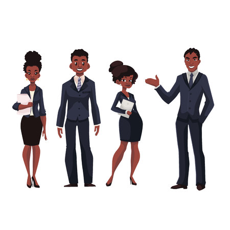 full length portrait: African American businessmen and businesswomen cartoon illustration isolated on white background. Full length portrait of black business men and women, executive and secretary, office workers