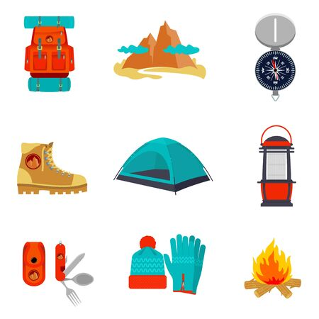 pocket knife: Set of camping equipment icons and symbols, sketch style illustration isolated on white background. Backpack tent compass lantern hiking boots fire pocket knife hat and gloves