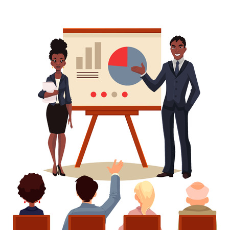 black business man: African American businessman and businesswoman holding presentation with white board cartoon style illustration. Black business man and woman at presentation a chart to a group of people Illustration