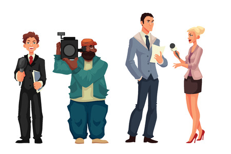 cameraman: Beautiful female journalist, interviewee, reporter and operator, cartoon style illustration isolated on white background. Full height cameraman and reporter, journalist taking interview