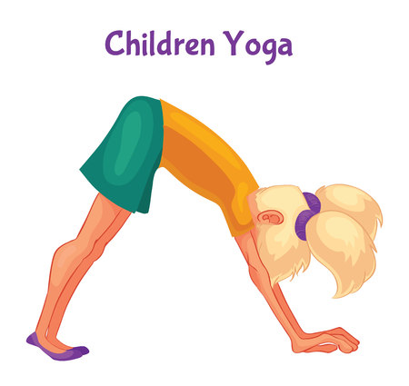 blond haired: blond haired girl doing yoga, cartoon style illustration isolated on white background. Kid yoga, little girl in yoga asanas, healthy lifestyle