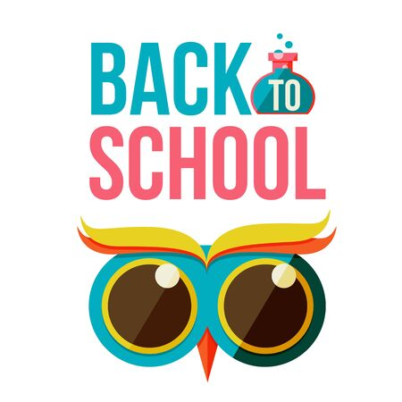 retort: Back to school poster with owl head, flat style illustration isolated on white background. Start of school season concept, poster card design with owl as a symbol of educational process