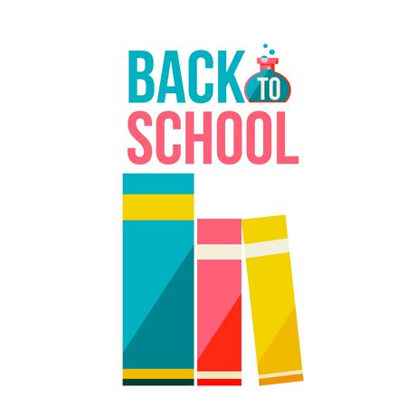 Back to school poster with row of books, flat style illustration isolated on white background. Start of school season concept, poster design with bookshelf as a symbol of educational process Stock Photo