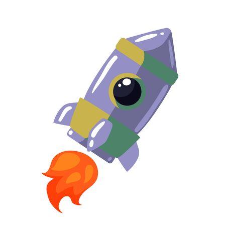 interstellar: Cartoon rocket illustration. Retro style spaceship on a white background, interstellar travelling, shuttle illustration