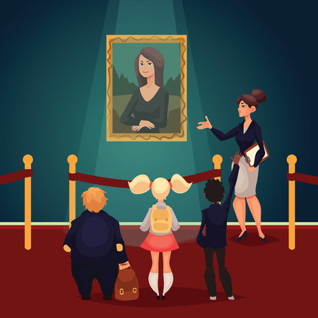 Kids in museum looking at classical work of art, cartoon style illustration. Museum guide telling children about a woman portrait. School trip to museum