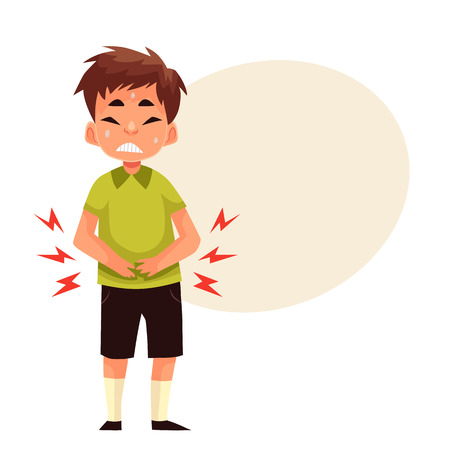 sweating: Boy having stomach ache, cartoon style illustration isolated on white background. Little boy having ache in his tummy, pressing hands to his abdomen, sad and sweating