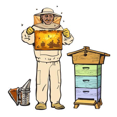 Imker in Schutzkleidung hält Wabe und einem Raucher, Abbildung Skizze Stil Vektor isoliert auf weißem Hintergrund. Imker in Schutzanzug an der Imkerei Arbeits