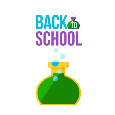 retort: Back to school poster with round chemical retort illustration isolated on white background. Start of school season concept, poster card design with scientific symbol of educational process