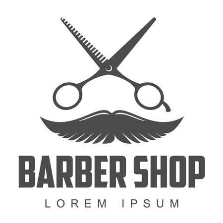 combs: vintage barber shop logo, label, badge and design element, illustration isolated on white background. Combs, moustache and scissors logo for barbershops, beauty salons, hairdressers