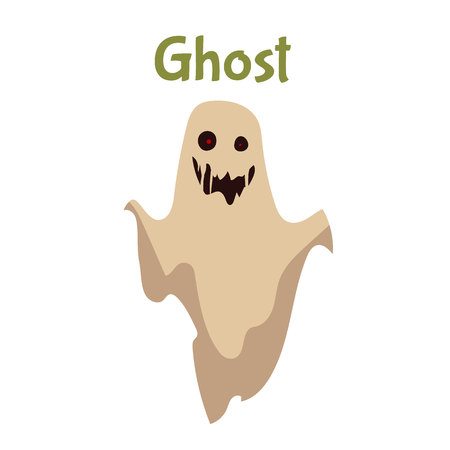 frightening: Scary ghost, Halloween costume idea, cartoon style vector illustration isolated on white background. Frightening red-eye ghost, traditional symbol of Halloween