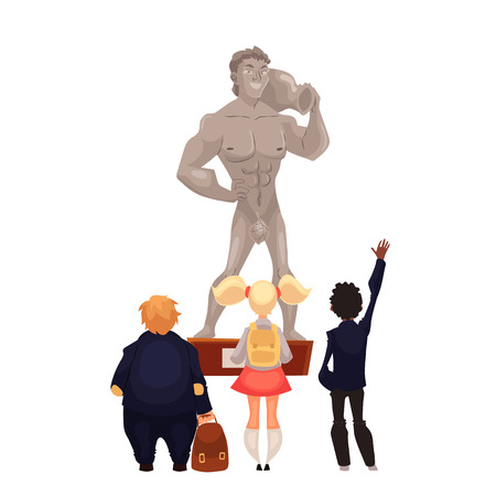 viewer: Kids in museum looking at a sculpture, cartoon style vector illustration. Museum guide telling children about a work of art, historical statue. School trip to museum Illustration