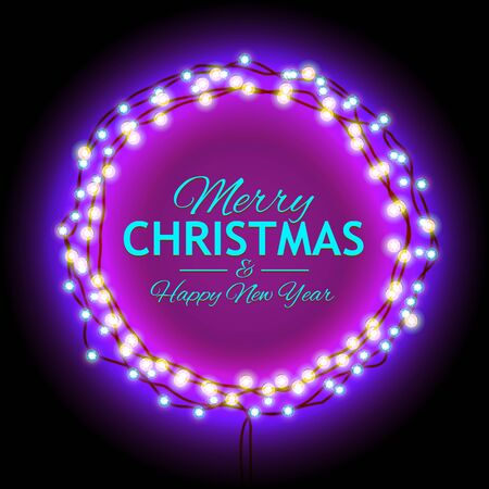 suitable: Round Frame with Glowing Lights, Garlands of with the words Merry Christmas.. Background on Sale, Discounts, Promotions in the Winter. Seasonal Advertising. Suitable for printing, mailing Stock Photo