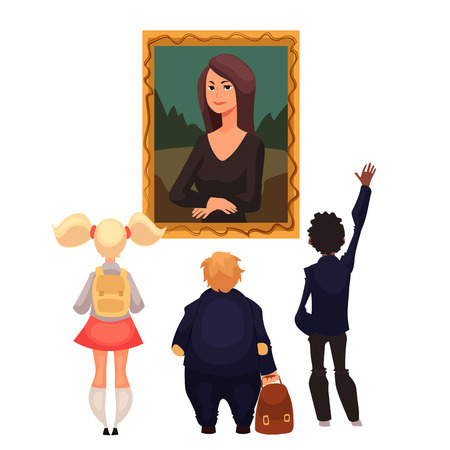 telling: Kids in museum looking at classical work of art, cartoon style vector illustration. Museum guide telling children about a woman portrait. School trip to museum