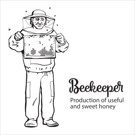 beekeeper: Beekeeper in protective gear holding honeycomb grid, sketch style vector illustration isolated on white background. Apiarist in protective suit working at the apiary Illustration
