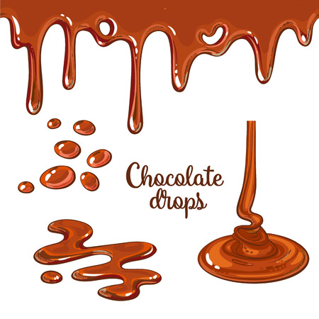 chocolate drops: Set of chocolate drops and blots, cartoon style vector illustration isolated on white background. Chocolate dropping and flowing, yummy cake decoration elements